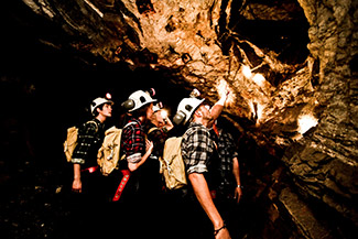 Group exploring geology underground at Central Deborah Gold Mine