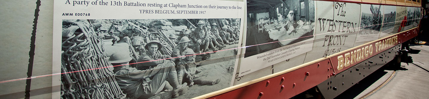 Close up of artwork displayed on the Anzac Centenary Tram