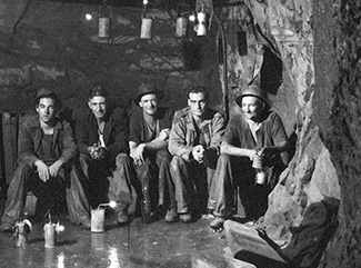 Central Deborah Gold Miners sitting on the Level 16 Plat, 386 metres underground.