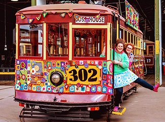 The brightly coloured crocheted Yarn Bomb Tram sitting at the Bendigo Tramways Depot