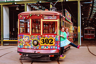 Bendigo Tramways Yarn Bombed Tram covered in crochet decorations